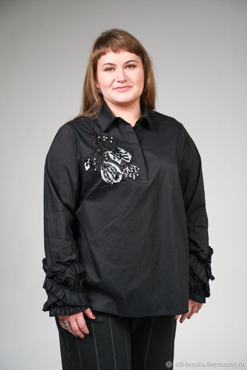 Черная рубашка с трендовой вышивкой, Рубашки, Саратов,  Фото №1