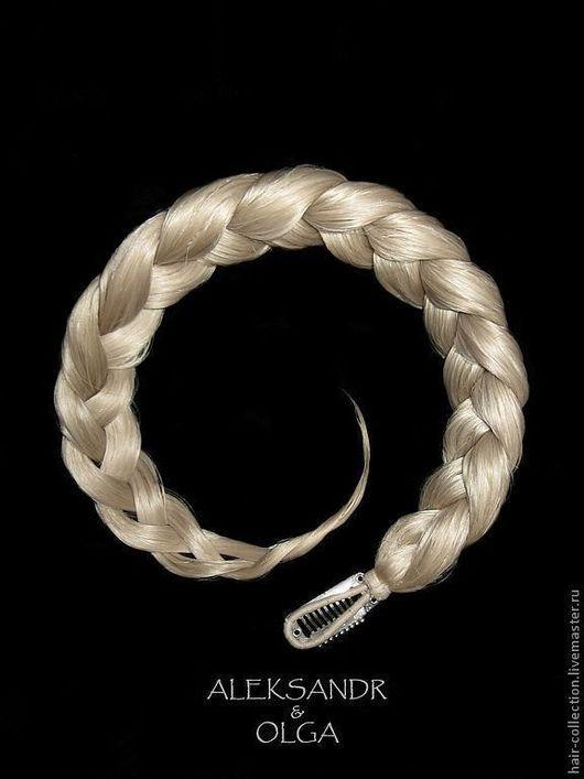 Накладная КОСА - имитация на заколке - постиж - 45 см Пепельный блонд