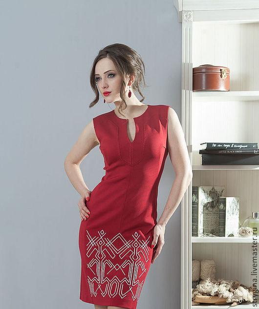 Платья ручной работы. Ярмарка Мастеров - ручная работа. Купить Платье ORNAMENT red. Handmade. Орнамент, офисный стиль, красный