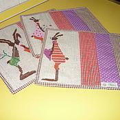 """Для дома и интерьера ручной работы. Ярмарка Мастеров - ручная работа Комплект салфеток с вышивкой""""Забавные зайцы"""". Handmade."""
