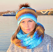 Аксессуары handmade. Livemaster - original item The hat is double knitted cowl in two turns