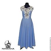 Платья ручной работы. Ярмарка Мастеров - ручная работа Платье длинное джинсовое с белым кружевом. Handmade.