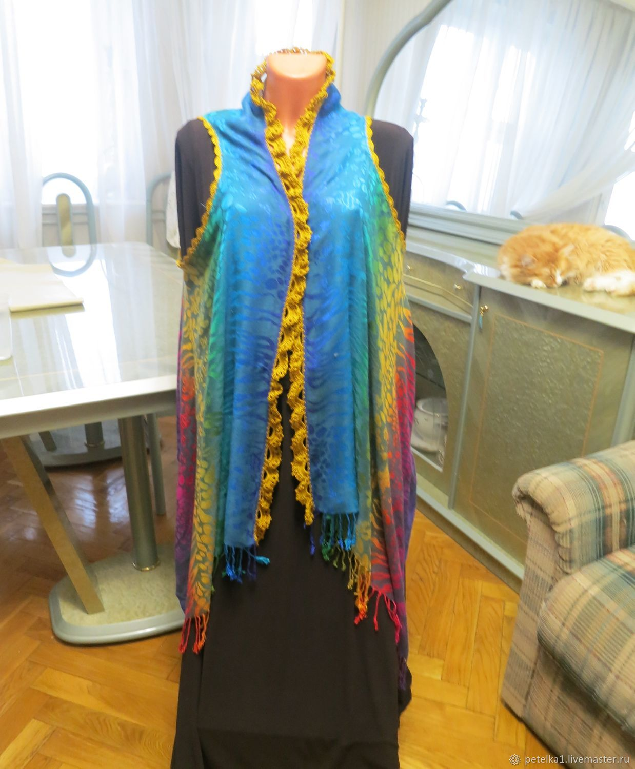 Vest-Cape of stole with lace.Gifts for March 8, Vests, Astrakhan,  Фото №1