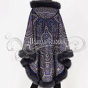 """Одежда ручной работы. Ярмарка Мастеров - ручная работа Пальто-пончо с отстёгивающимся капюшоном """"Отражение в пруд"""" из платков. Handmade."""