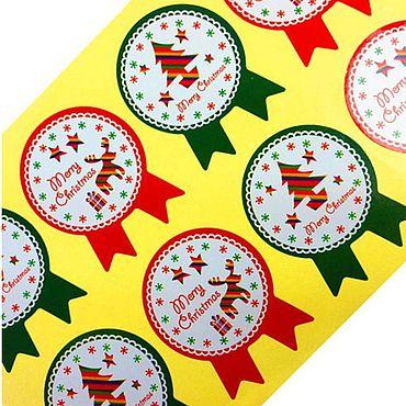 Материалы для творчества ручной работы. Ярмарка Мастеров - ручная работа Наклейки новогодние по 8 штук на листе. Handmade.