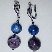 Украшения handmade. Livemaster - original item Earrings with kyanite and amethyst