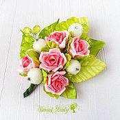 Украшения ручной работы. Ярмарка Мастеров - ручная работа Брошь заколка LaRose, брошь из лент, заколка с розами. Handmade.