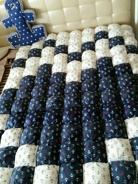 одеяло бомбон, детское одеяло, якоря, морской стиль
