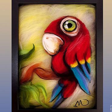 Картины и панно ручной работы. Ярмарка Мастеров - ручная работа Картина из шерсти Попугай 20 х 27 см.. Handmade.