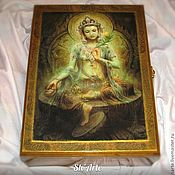 Для дома и интерьера handmade. Livemaster - original item Box for needlework/paper Green Tara in gold. Handmade.
