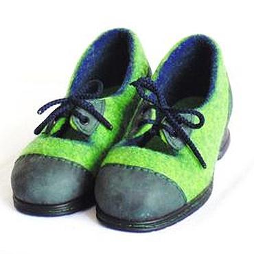 """Обувь ручной работы. Ярмарка Мастеров - ручная работа Шерстяные туфли для """"зелёной гусеницы"""", 36 рос. р. в наличии. Handmade."""