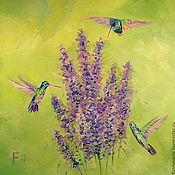 Картины и панно handmade. Livemaster - original item Oil painting on canvas. Lavender Hummingbird.. Handmade.