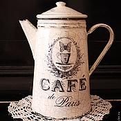 """Посуда ручной работы. Ярмарка Мастеров - ручная работа Кофейник """"Винтажное утро"""" френч-винтаж. Handmade."""