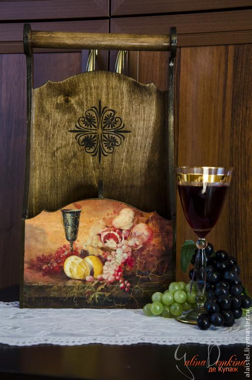 """Корзины, коробы ручной работы. Ярмарка Мастеров - ручная работа. Купить Короб для вина """"Натюрморт"""". Handmade. Короб для вина, бокал"""
