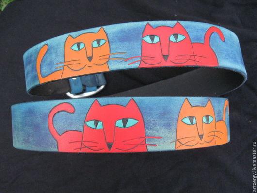 """Пояса, ремни ручной работы. Ярмарка Мастеров - ручная работа. Купить ремень кожаный """"Коты"""", крупные. Handmade. Рисунок, ремень"""