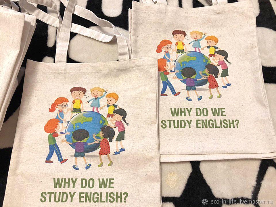 Экосумка для книг «Why do we study english?» 2 дизайна