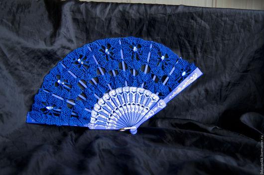 Веера ручной работы. Ярмарка Мастеров - ручная работа. Купить Веер №64. Handmade. Синий, насыщенный синий, ажурный веер