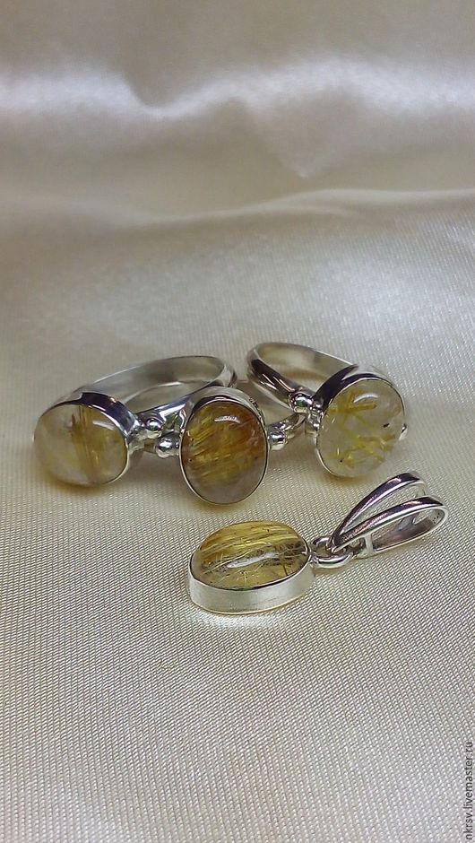 Кольца и кулон ручной работы из натурального волосатика в серебре.