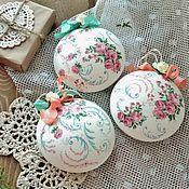 Сувениры и подарки handmade. Livemaster - original item Christmas balls on Christmas tree Christmas decorations shabby chic decoupage. Handmade.