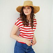 Одежда handmade. Livemaster - original item Loose cotton vest with red stripes, Striped T-shirt. Handmade.