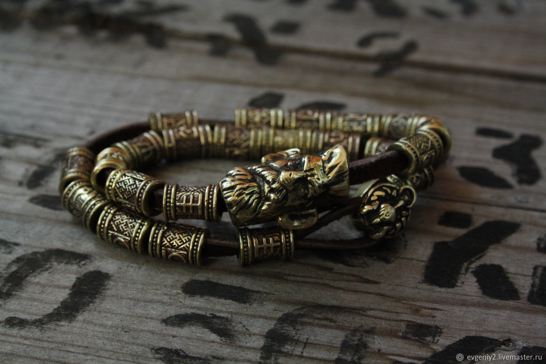 Bronze bracelet on Hunter leather-based, Bead bracelet, Volgograd,  Фото №1