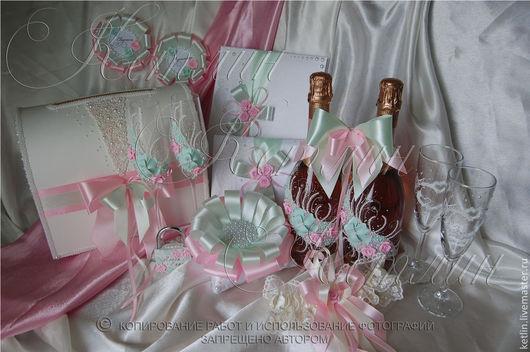 Свадебные аксессуары ручной работы. Ярмарка Мастеров - ручная работа. Купить Комплект аксессуаров в розово- мятной гамме. Handmade. Мятный