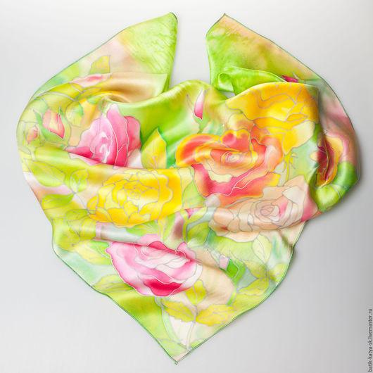 """Шали, палантины ручной работы. Ярмарка Мастеров - ручная работа. Купить Батик платок """"Позитив"""". Handmade. Ярко-зелёный, желтый"""