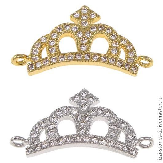 Коннектор корона золото и серебро (Milano) Евгения (Lizzi-stones-2)