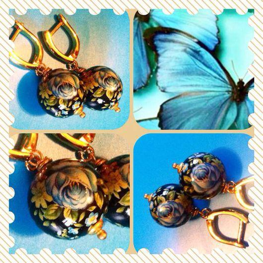 Серьги ручной работы. Ярмарка Мастеров - ручная работа. Купить Серьги черные с синим цветком (Тенша) РЕЗЕРВ. Handmade. Серьги