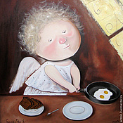 Картины и панно ручной работы. Ярмарка Мастеров - ручная работа Картина маслом. Завтрак. Handmade.