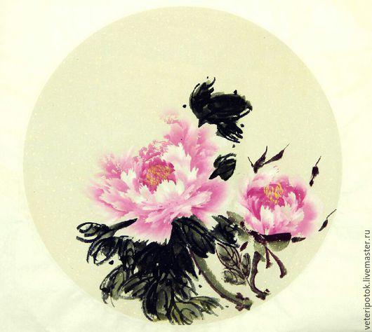 Картины цветов ручной работы. Ярмарка Мастеров - ручная работа. Купить картина на рисовой бумаге круглой формы Пионы розовые. Handmade.