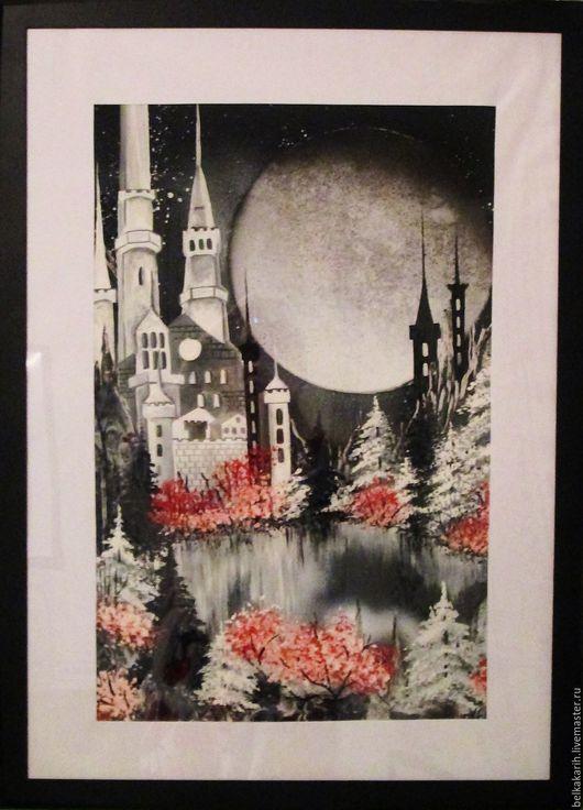 Пейзаж ручной работы. Ярмарка Мастеров - ручная работа. Купить Белый замок. Handmade. Природа, зимний лес, луна, акрил