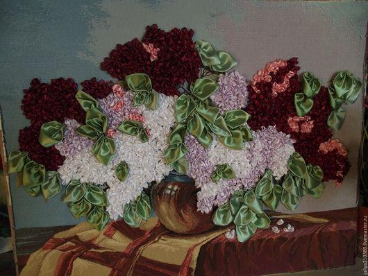 Картины цветов ручной работы. Ярмарка Мастеров - ручная работа. Купить Сирень. Handmade. Комбинированный, вышивка ручная, атласные ленты