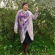 """Одежда ручной работы. Ярмарка Мастеров - ручная работа Легкое пальто из шелка и шерсти """"Сиреневая дымка. Handmade."""