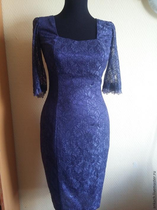 Платья ручной работы. Ярмарка Мастеров - ручная работа. Купить Коктейльное платье. Handmade. Тёмно-фиолетовый, итальянские ткани