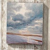 Картины и панно ручной работы. Ярмарка Мастеров - ручная работа картина Дыши... (светло-голубой, небо, облака, птицы, лофт). Handmade.