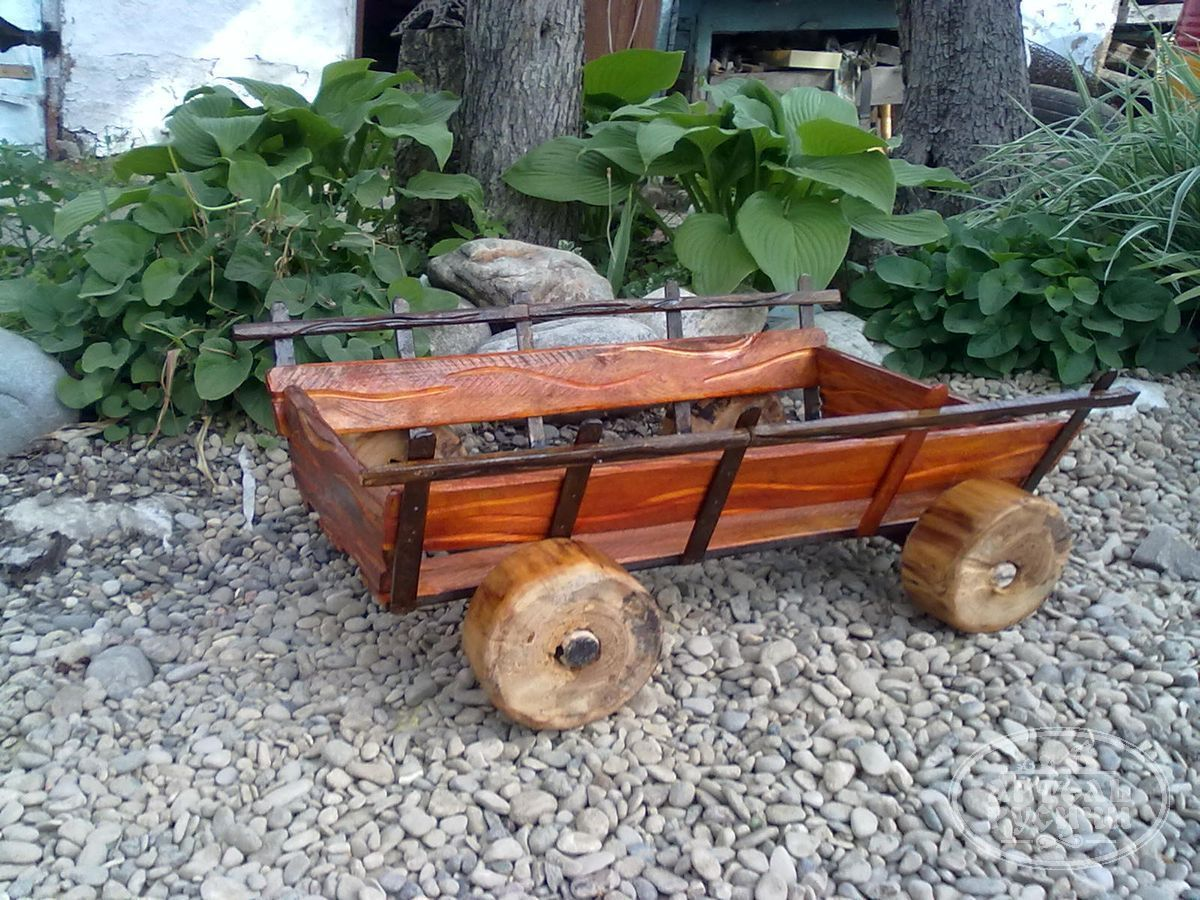 Как сделать своими руками декоративную телегу для сада своими руками 30