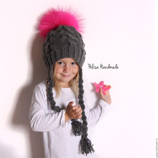Шапки и шарфы ручной работы. Ярмарка Мастеров - ручная работа. Купить Зимняя шапка с ярким помпоном. Handmade. Темно-серый