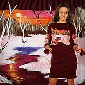 """Платья ручной работы. Ярмарка Мастеров - ручная работа Вязаное,бордовое платье  с ручной вышивкой """" Розовый рассвет"""". Handmade."""