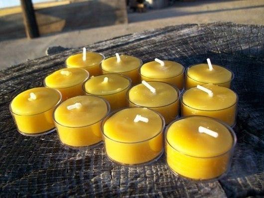 Свечи ручной работы. Ярмарка Мастеров - ручная работа. Купить Чайные свечи из натурального воска. Handmade. Желтый, пчела, серый
