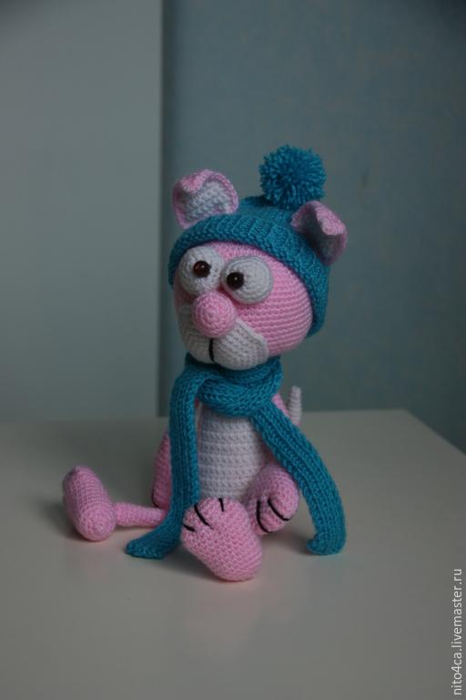 Игрушки животные, ручной работы. Ярмарка Мастеров - ручная работа. Купить Кот Афанасий вязаный. Handmade. Розовый, розовый кот