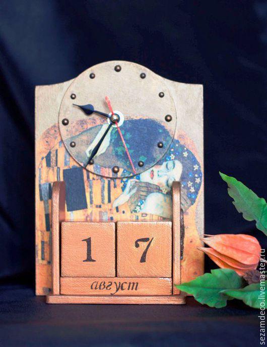 """Часы для дома ручной работы. Ярмарка Мастеров - ручная работа. Купить Часы-календарь """"Климт"""". Handmade. Золотой, часы-календарь"""