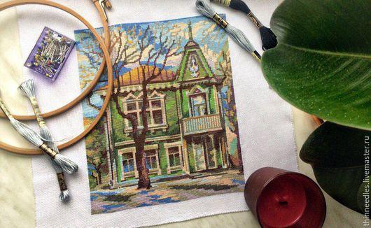 Город ручной работы. Ярмарка Мастеров - ручная работа. Купить Вышитая картина Зелёный дом. Handmade. Комбинированный, нитки мулине