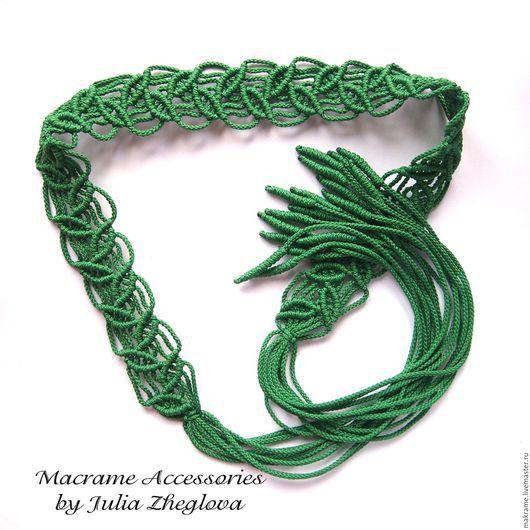 """Пояса, ремни ручной работы. Ярмарка Мастеров - ручная работа. Купить Плетёный пояс """"Резные листья"""" зеленый с кистями, макраме. Handmade."""