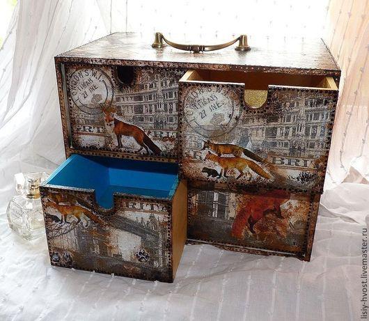 """Мини-комоды ручной работы. Ярмарка Мастеров - ручная работа. Купить Мини-комод  """"Fox town"""" (Город Лисов). Handmade."""