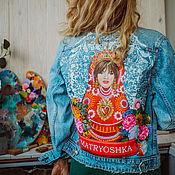 Одежда handmade. Livemaster - original item Denim jacket with Matryoshka print. Painting on fabric. Handmade.