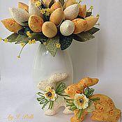 Куклы и игрушки ручной работы. Ярмарка Мастеров - ручная работа Солнечные кролики с большим букетом тюльпанов. Handmade.