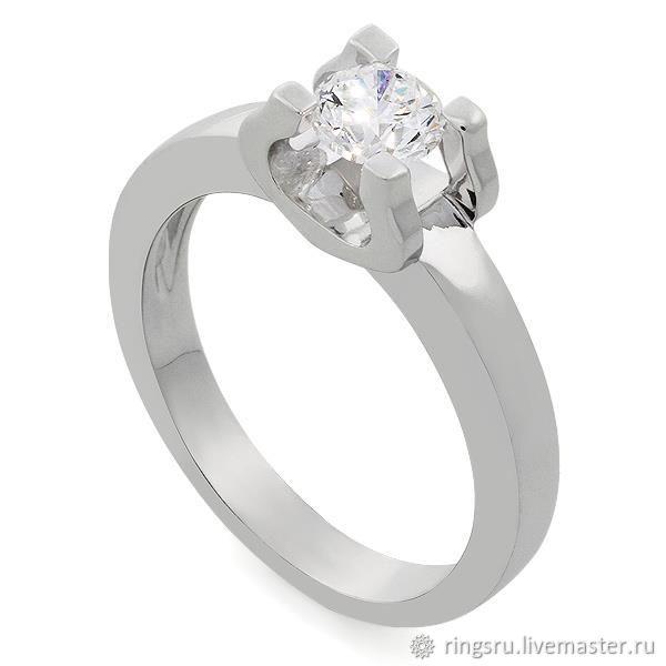 Кольцо помолвочное с одним бриллиантом – купить на Ярмарке Мастеров – KF3VIRU | Кольцо помолвочное, Москва