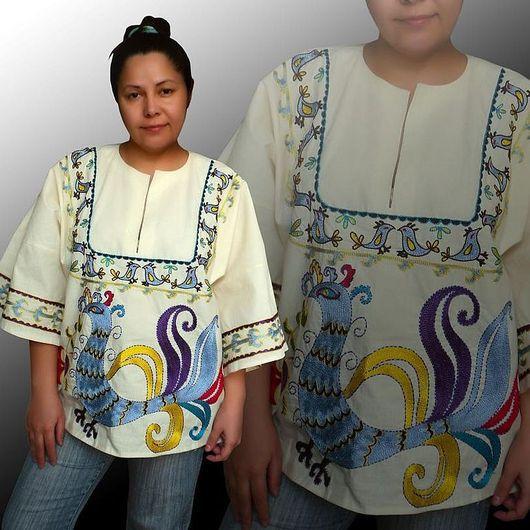 """Этническая одежда ручной работы. Ярмарка Мастеров - ручная работа. Купить рубаха """"Сказочная птица"""". Handmade. Мужская рубаха, вышивка"""