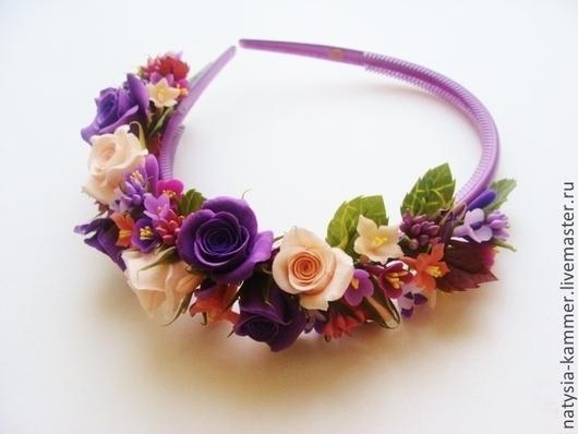 Диадемы, обручи ручной работы. Ярмарка Мастеров - ручная работа. Купить Ободок с цветами. Handmade. Фиолетовый, ободок с цветами